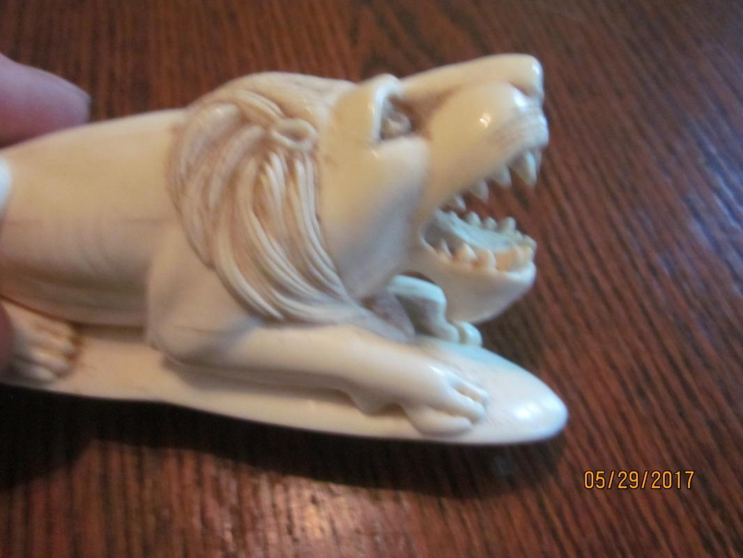 Antique Indo-Victorian Ivory Lion Carving