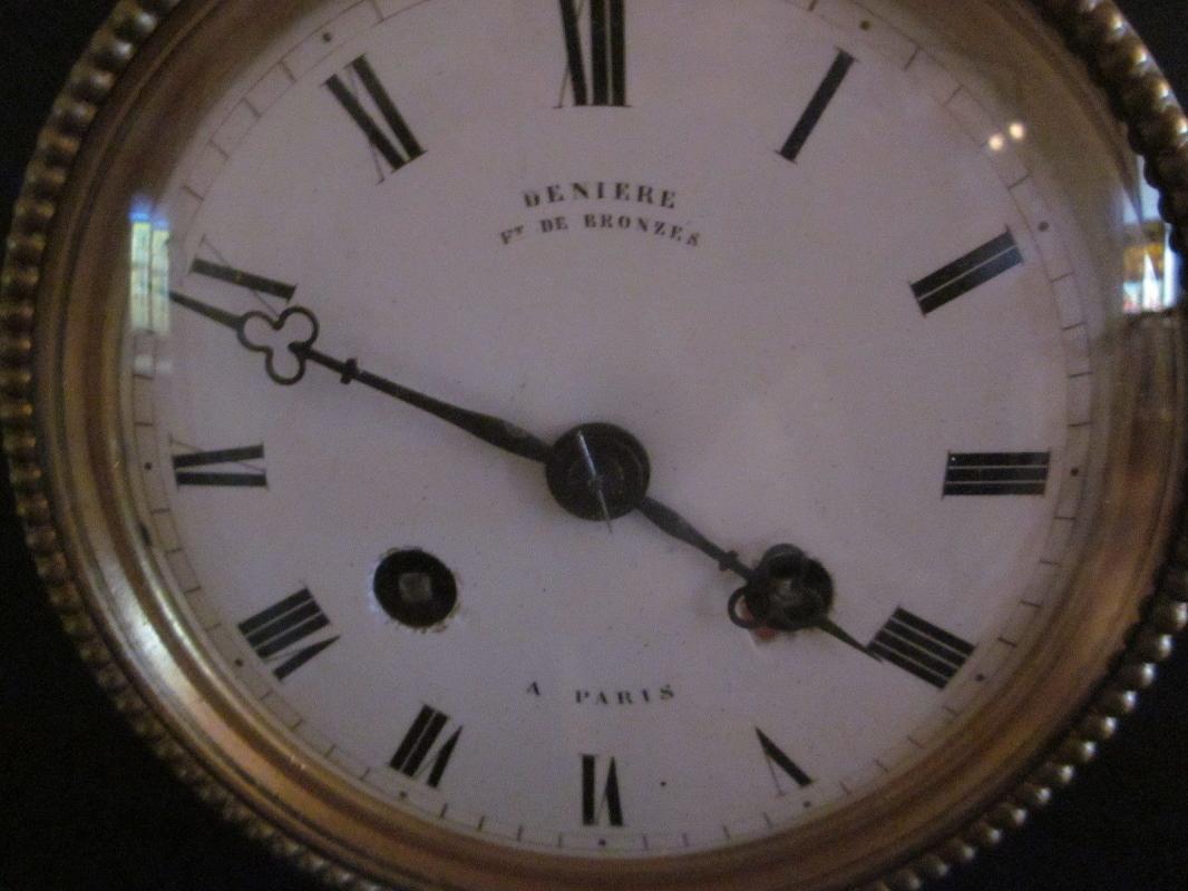 Deniere Bronze Goat and Maid Clock, Paris France, black slate, removable bronze