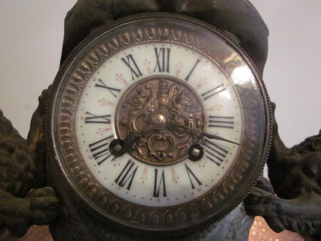 c.1880 Franco-Prussian German Silver and Bronze Clock, dragon, lions