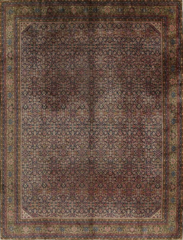 One Of A Kind Agra Geometric Hand Knotted 11x14 0 Wool Antique Orienta