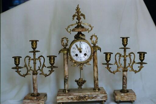 French 3 pc Clock & Candelabra Set