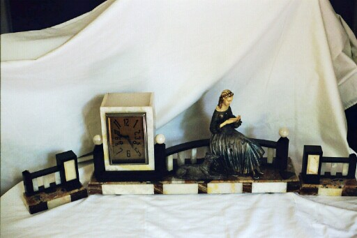 Art Deco Onyx Clock with woman & Borzoi