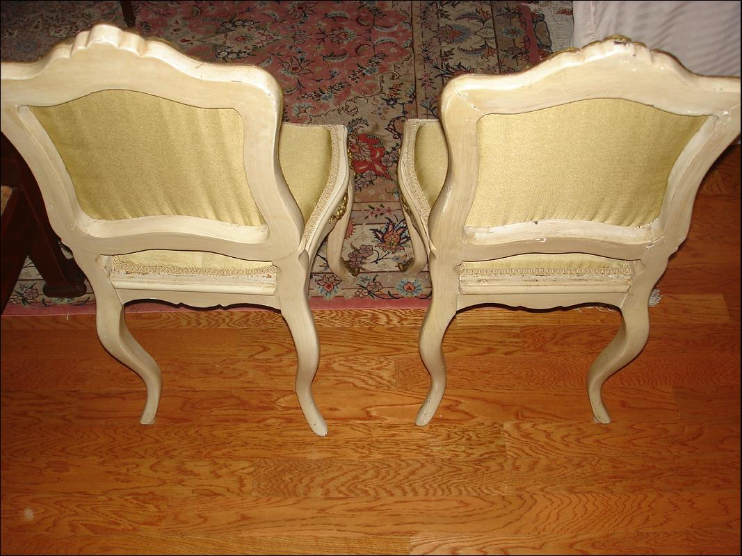 French antique Louis XV style painted chairs