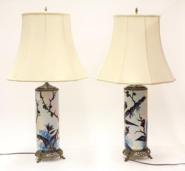 Mid Century polychrome decorated table lamps
