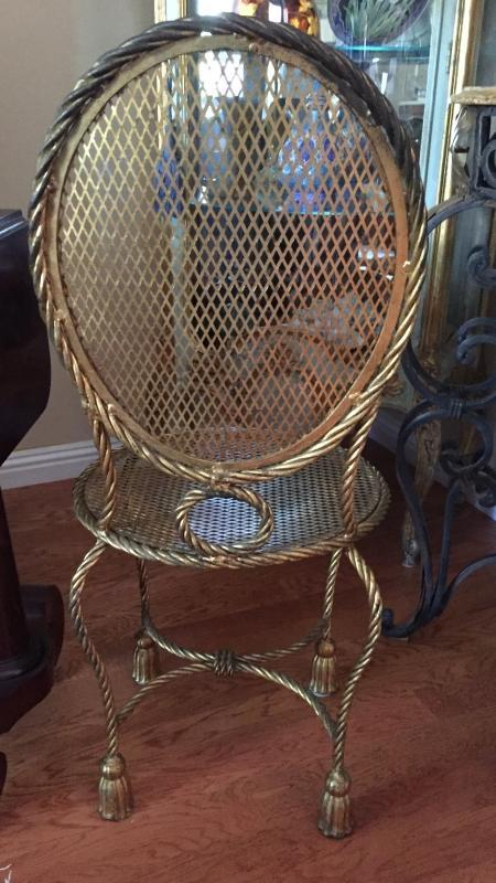 Hollywood Regency style gilt metal rope & tassel  Estagere