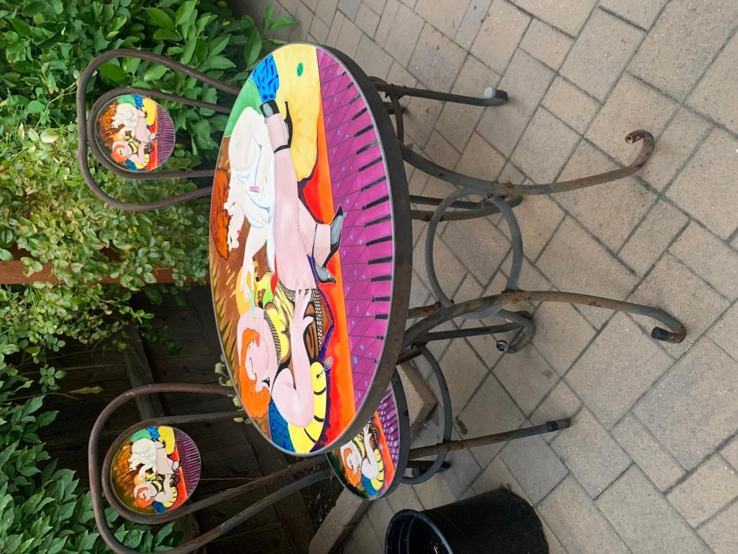 French Bistro set with Stained Glass