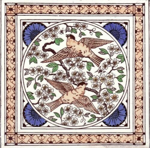 English Transfer Tile  Birds