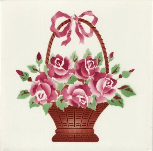 Hand painted Schmider floral tile