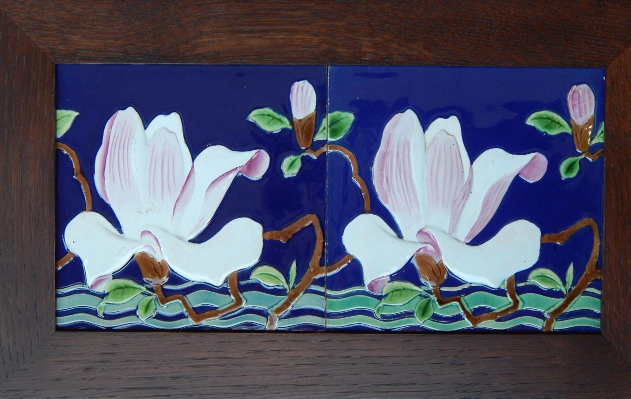 Minton Majolica Tiles in Arts and Crafts Frame