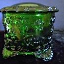 Dark Green Glass Vintage Powder Jar By Kemple Wheaton Glass Co.1970's, Signed KW