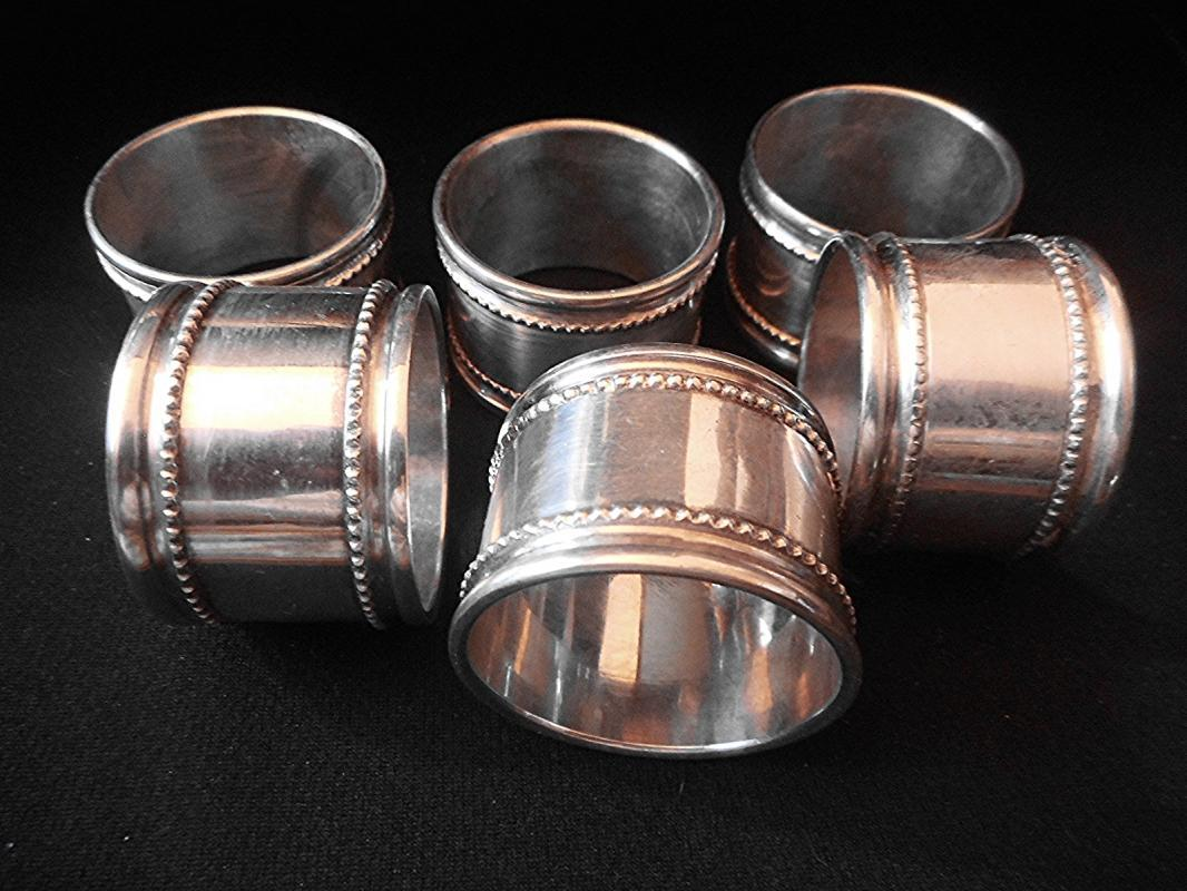 Set Of Six Fine Quality Silver Plate Napkin Rings, Beaded Decoration