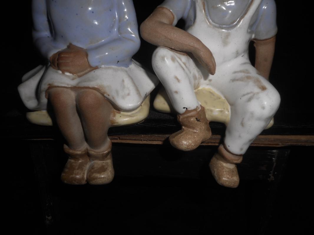 Seymour Mann Japanese Imports, Pair Glazed Earthenware Boy & Girl Shelf Sitters, 1949