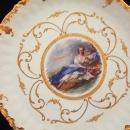 Lovely Vintage Gold Encrusted Porcelain  FRENCH Portrait PLATE, Signed, I.Vardel