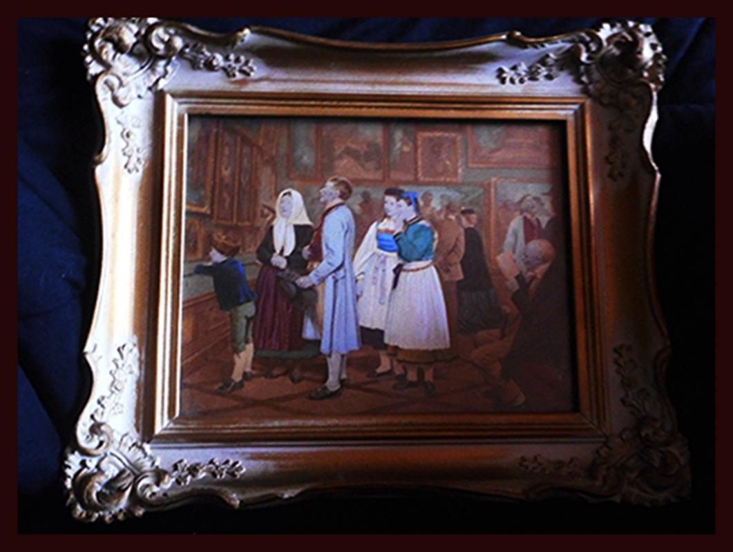 Hand Colored Lithograph, Provincial Family Viewing Artwork, Elaborate Wood Frame