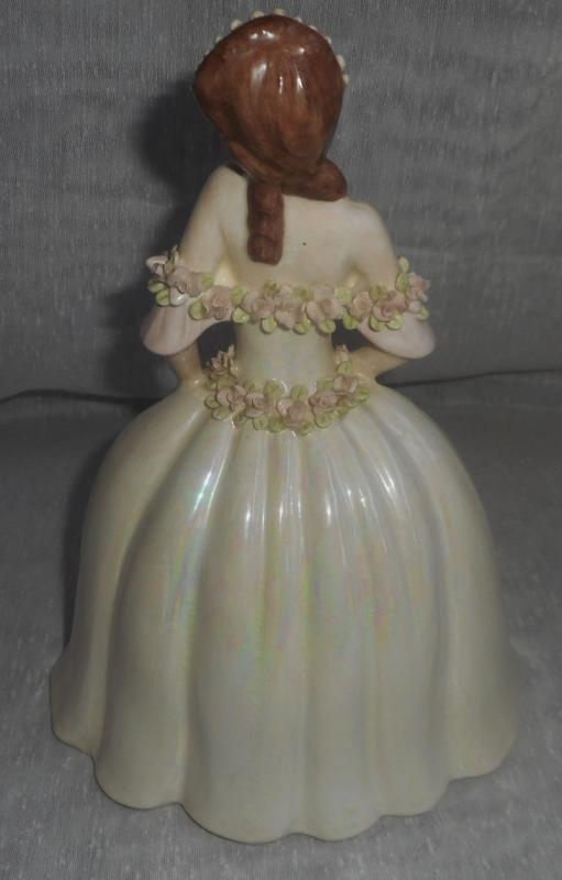 Alberta's of California Exquisite Ceramic Lady in Detailed 9th Century Dress, Dated 1949
