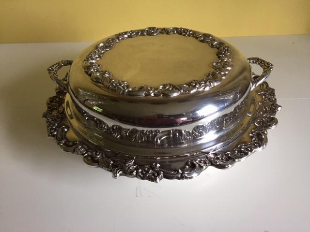 Silver on Copper Dish w/Lid