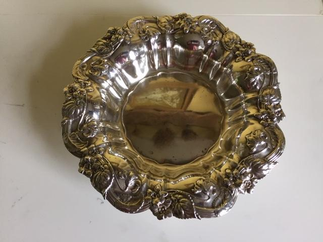 'Sterling Silver Dish w/ Flowers