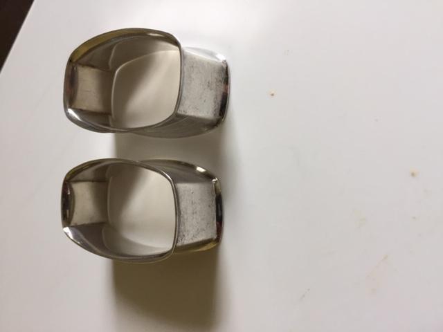 2 Webster Sterling Silver Hallmark Napkin Rings w/ Hatching