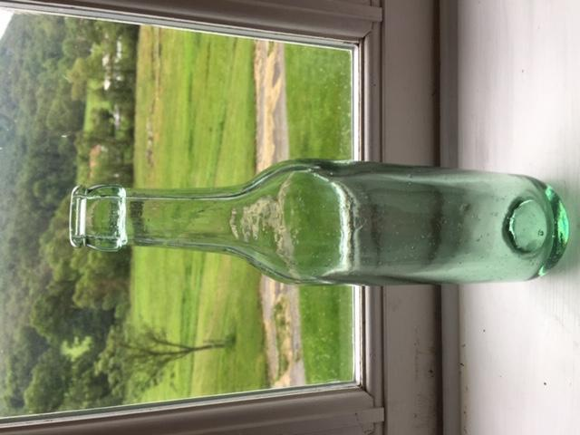 Old Green Glass Bottle - Lots of Bubbles in Glass