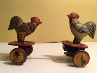 Tin Fighting Roosters