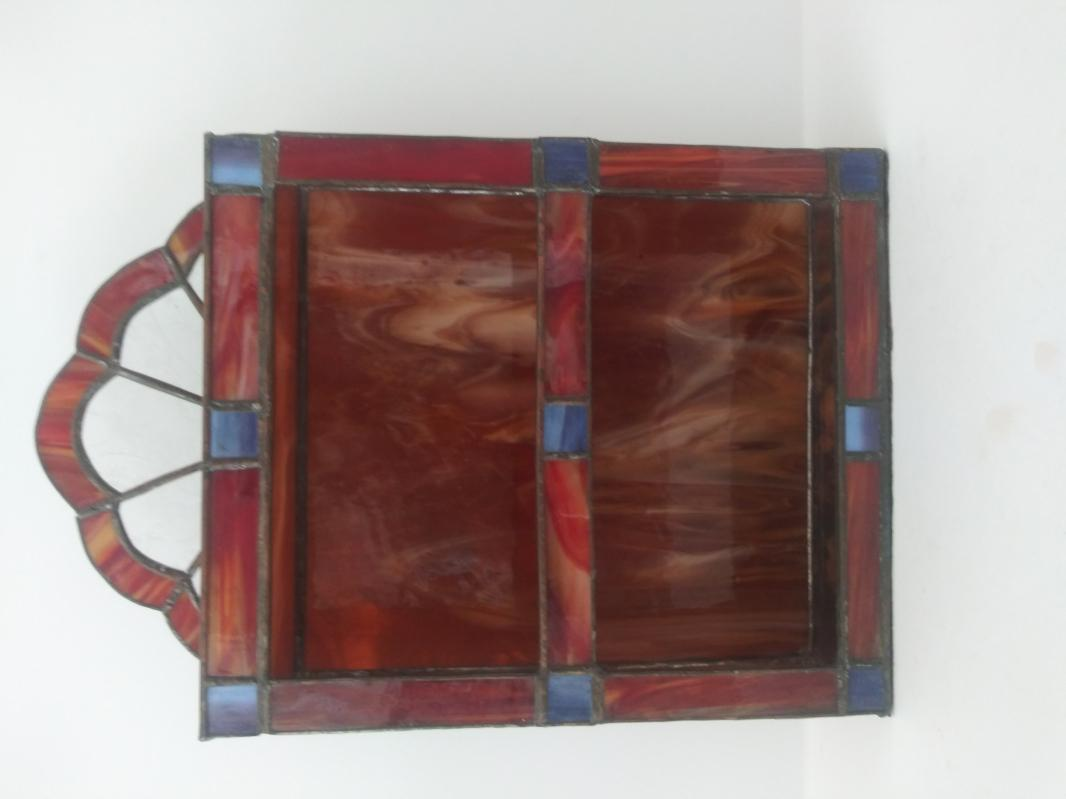 vintage leaded glass display shelf 3 tier amber brown