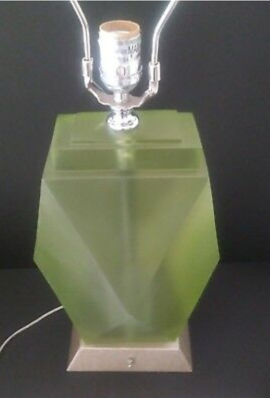 MCM green diamond table lamp pair