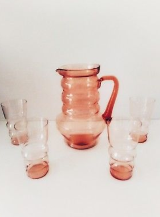 rare pink dression glass pitcher and glass set
