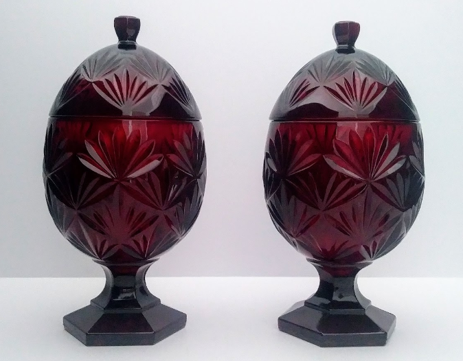 pair of ruby red cranberry egg shape mantel candy dish