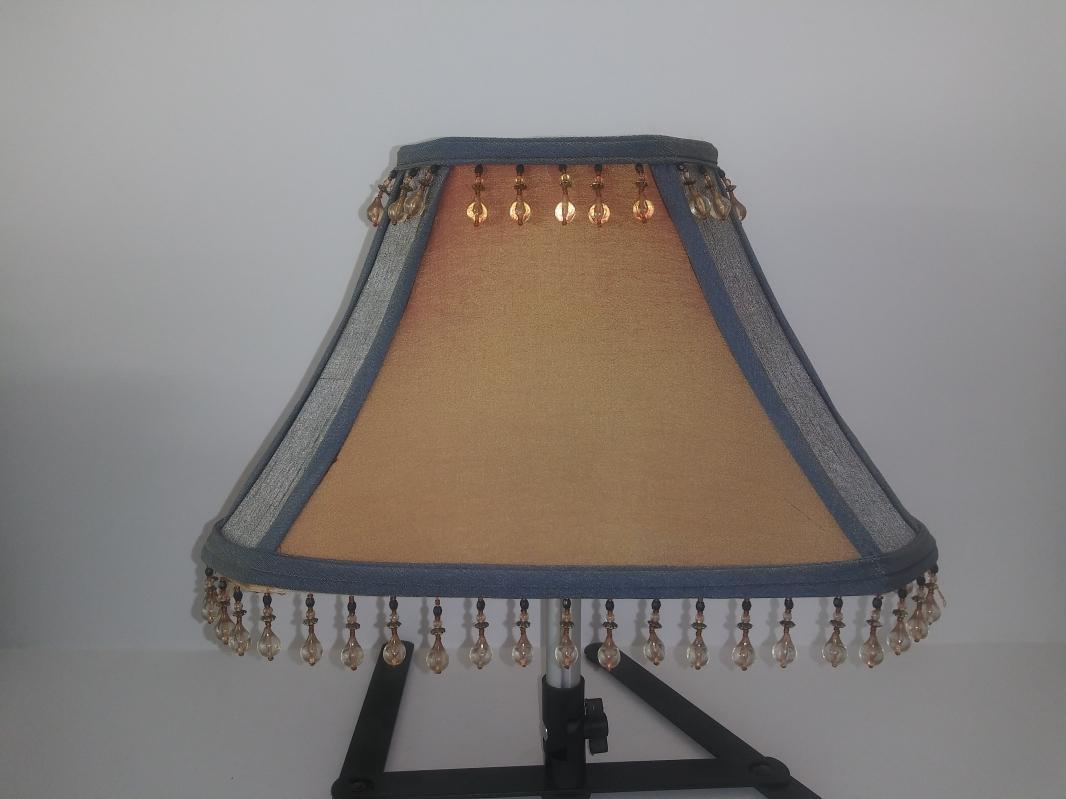 rectangle victorian satin style blue & gold lamp shape beaded