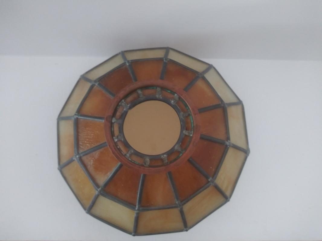 MCM amber leaded stain glass lamp shade slag