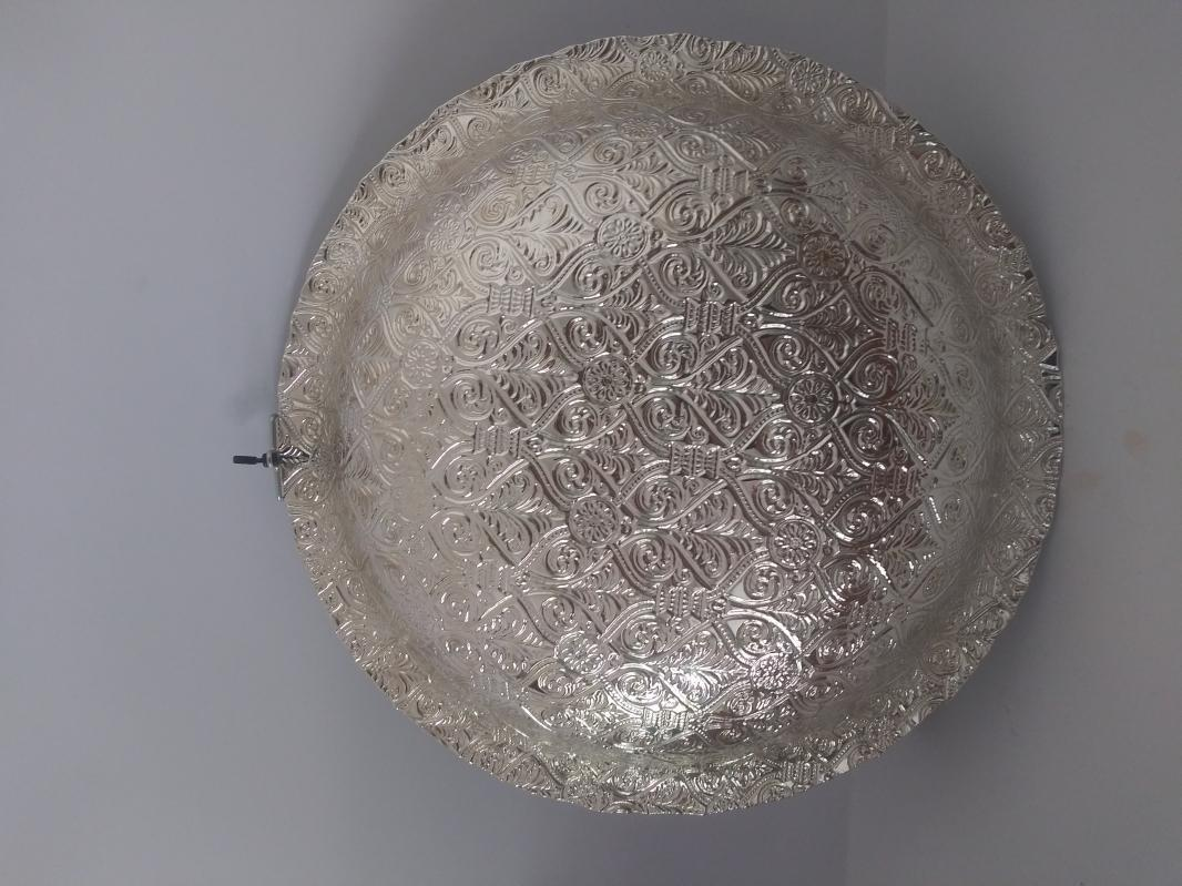 15 inch silverish collection pure silver and glass platter
