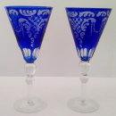 Elegant Bohemian cobalt blue cut to clear etched large chalice