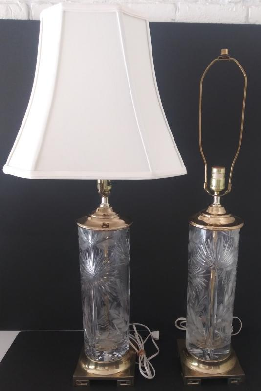 Mcm vintage Geyer Dresdon crystal cut table lamps