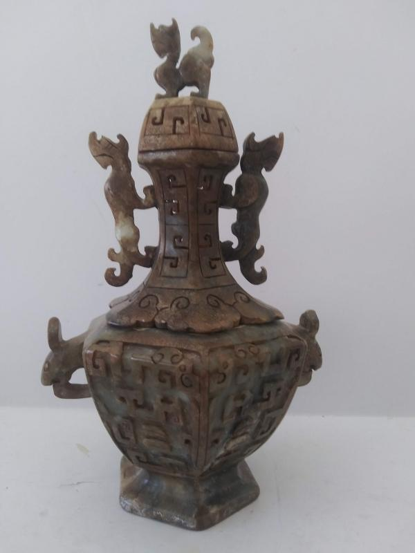 Antique hand carved ceremonial incense soapstone jade wingless dragons