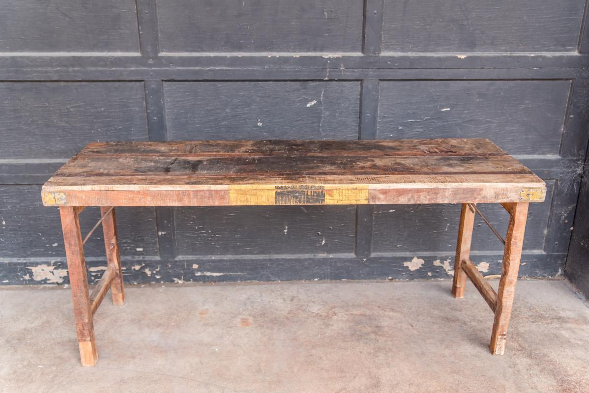 Vintage Indian Folding Coffee Table, Wood Rustic Living Room Table, Outdoor Patio Table