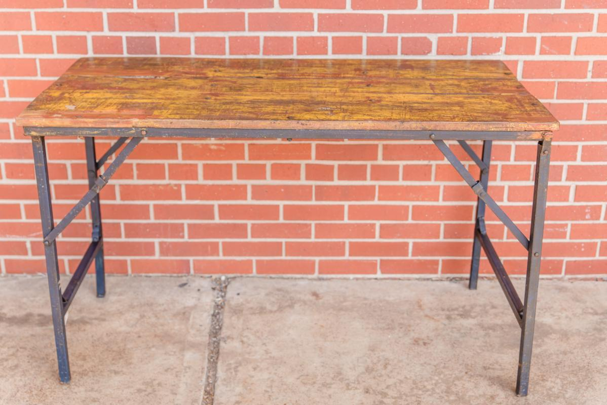 Vintage Farmhouse Folding Table, Wood High Top Industrial Dining Table