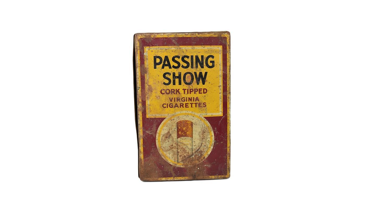 1930's Vintage Metal Passing Show Cigarette Box