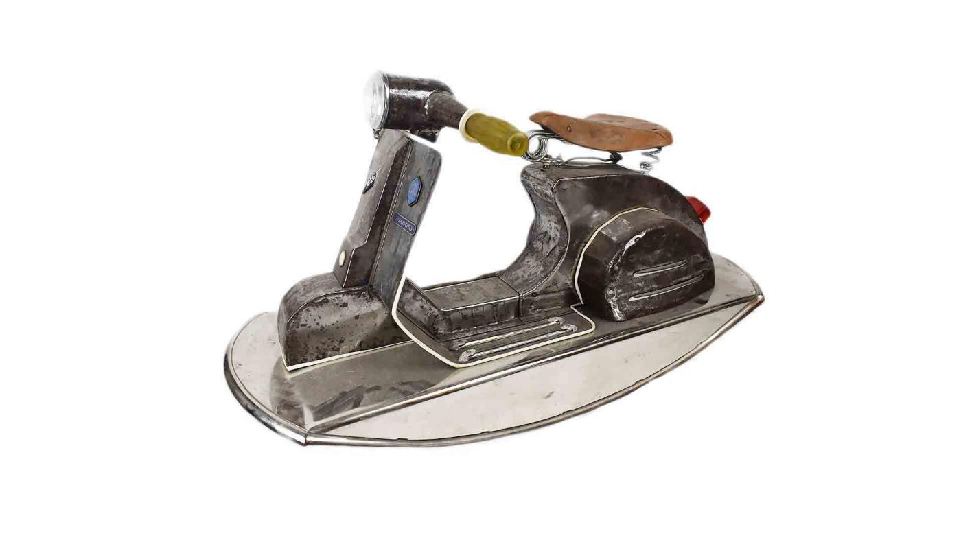Vintage Rocking Toy Vespa Scooter, Retro Unique Display Item