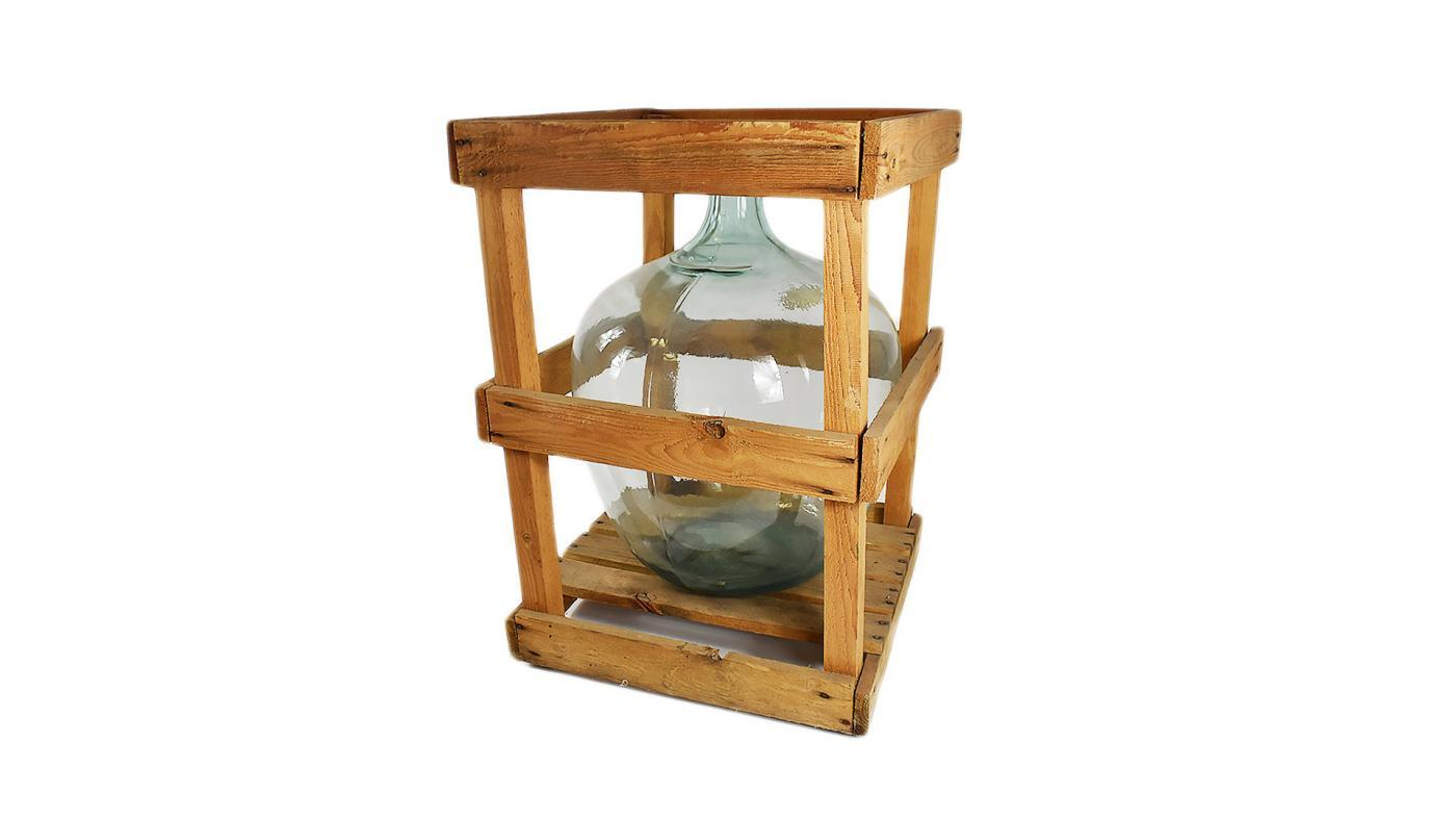 Large Crated Demijohn, Farmhouse Table Stand, Rustic Home Decor Bottle