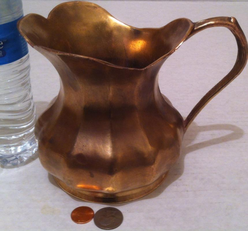 Vintage 1983 Metal Brass Pitcher, Made in Italy, 7 1/2