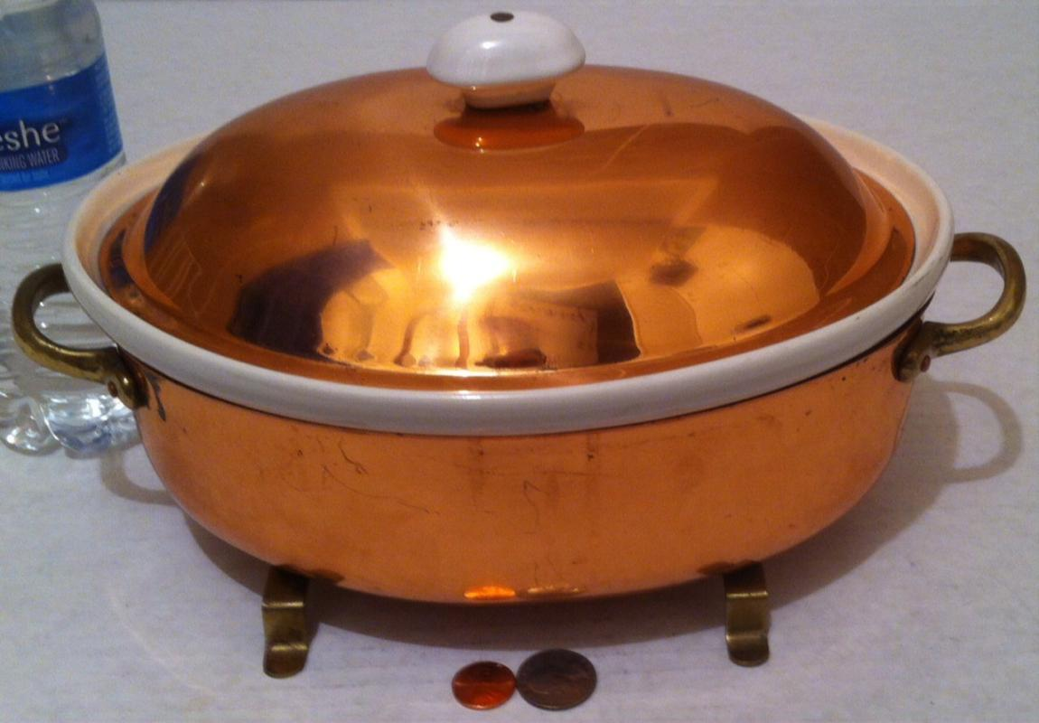 Vintage Metal Copper and Brass Cooking Dish, White Porcelain, 12