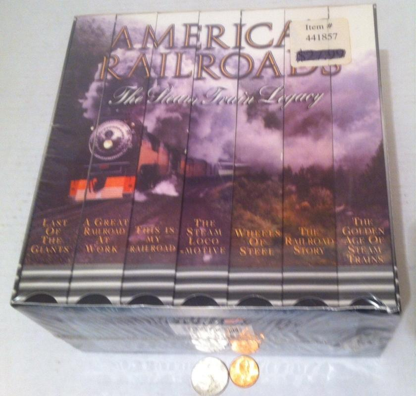Vintage 1995 America Railroad The Steam Train Legacy, Made in USA, Still New and Unopened, Trains, Locomotives, 7 VHS tape Set, Shelf Decor