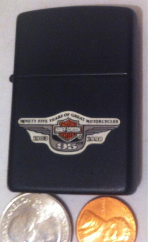 Vintage 1998  Black Harley Davidson Zippo Lighter, 95 Years of Great Motorcycles 1903 to 1998