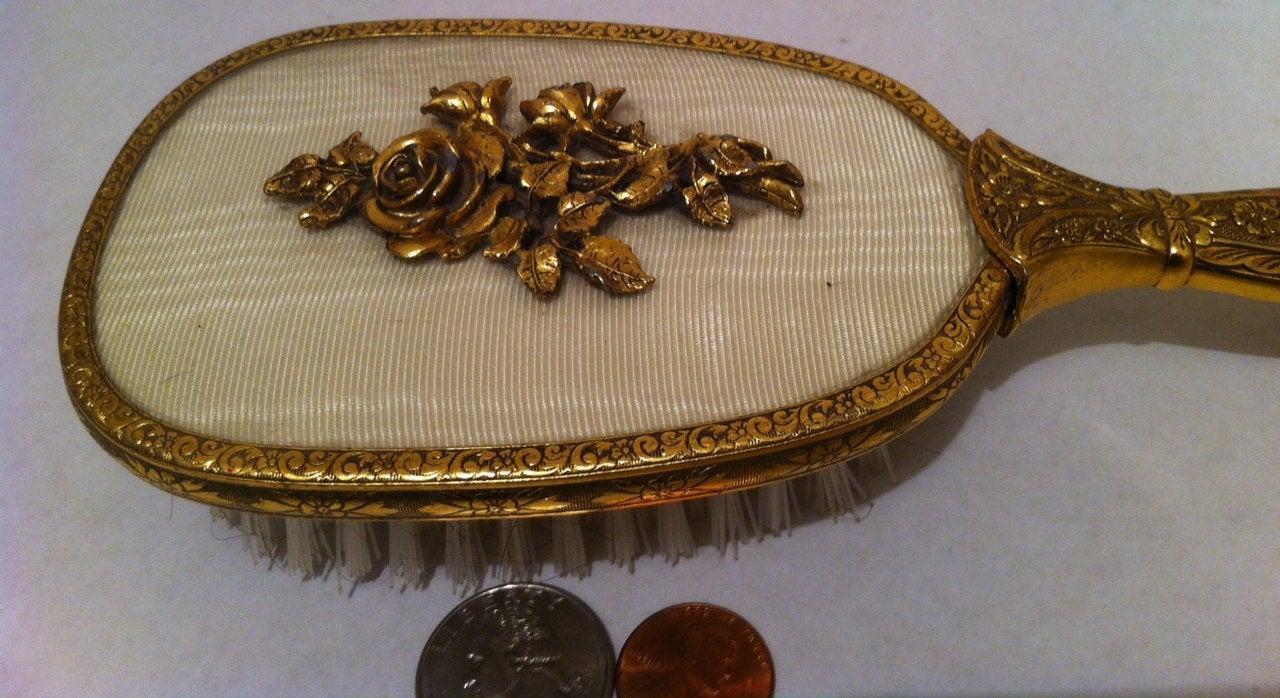 Vintage Brass Metal Hair Brush, 10 1/2