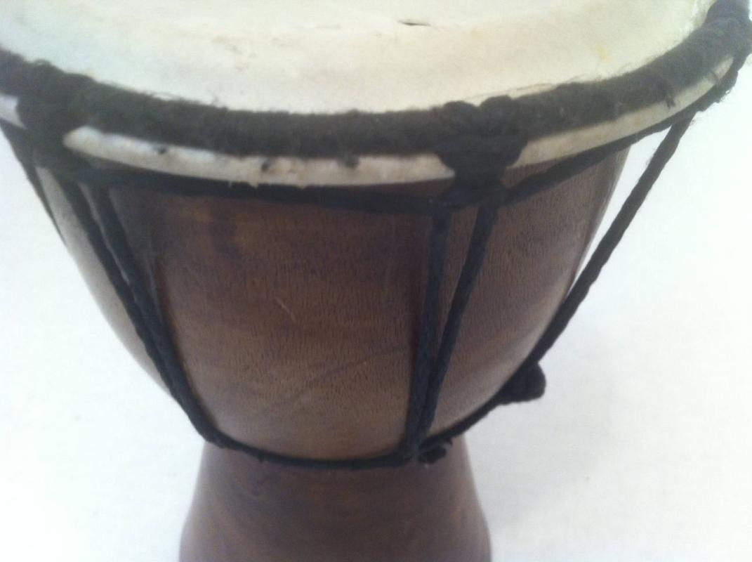 Vintage Musical Bongo Drum, Quality Made, Skin, Thick Wood, 8 x 5 1/2, Play It, Shelf Display, Vintage Quality Musical Instrument
