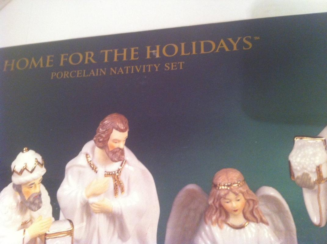 Vintage 1999 May Department Store Home for the Holidays Porcelain Nativity Set, Set of 12 Figures, All Wrapped up Like Never Used Still