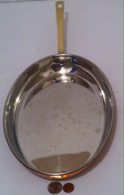 Vintage Copper Metal Oval Saute Pan, Fish Pan, 19