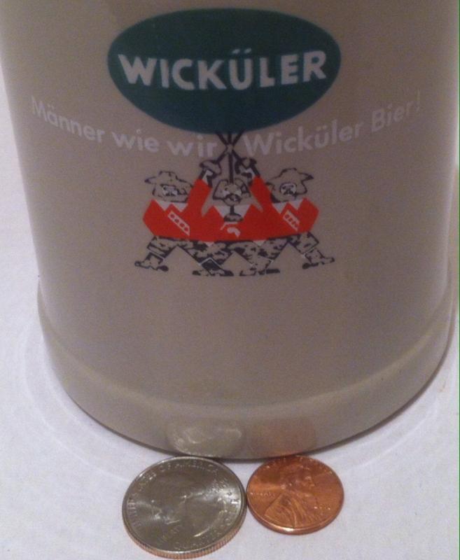 Vintage 1960's Heavy Duty Thick German Beer Stein, Wickuler, Mug, 5 x 4, Shelf Display, German Beer, Alcohol, Has German Makers Mark