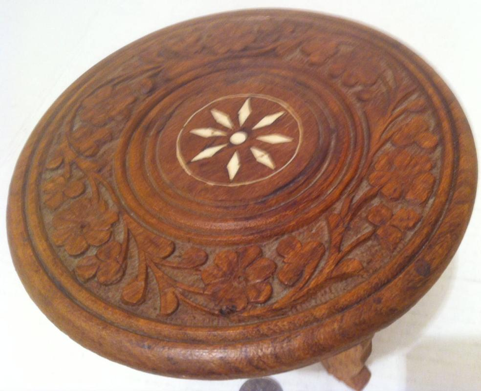 Vintage Wooden Miniature Carved Table, Shelf Display, Home Decor, 6 1/2 x 6, Quality Hardwood, Artistic, Enlay