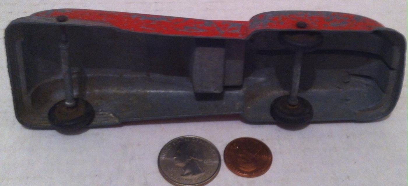 Vintage 1940s Metal Toy Pressed Red Car, Rolls Good, Wheels are Hard to See, 6